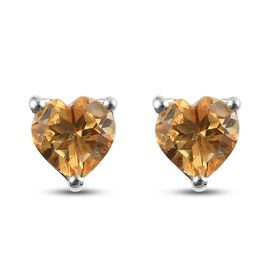 Citrine Heart Stud Earrings (with Push Back) in Platinum Overlay Sterling Silver 1.00 Ct.