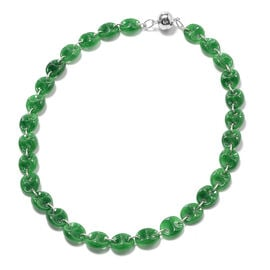 Green Jade Necklace (Size 18) in Rhodium Overlay Sterling Silver  159.00 Ct, Silver wt. 6.00 Gms