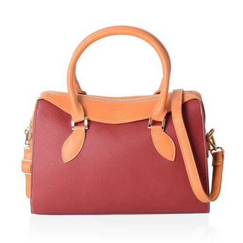 TW11 COLLECTION  Burgundy Tote Bag with External Zipper Pocket and Removable Shoulder Strap (Size 32