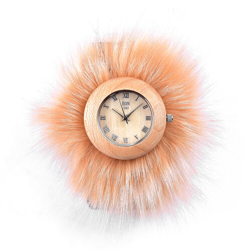 EON 1962 Japanese Movement Sandalwood Watch with Beige Fur and Taupe Colour Leather Strap