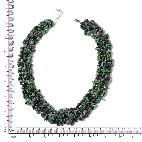 One Time Deal-Ruby Zoisite Necklace (Size 18 with 2 inch Extender) in Rhodium Plated Sterling Silver 800.000 Ct.