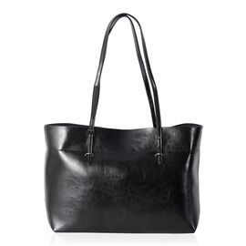 Close Out Deal100% Genuine Leather Black Travel Size Tote with External Zipper Pocket (Size 43x37x27x11.5 Cm)