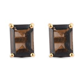 Smoky Quartz Earring in 14K Gold Overlay Sterling Silver 1.57 Ct