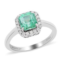 RHAPSODY 950 Platinum AAAA Boyaca Colombian Emerald and Diamond (VS/E-F) Ring 1.70 Ct.