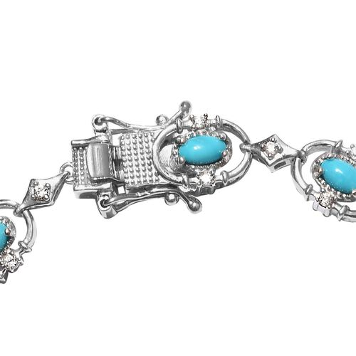 Arizona Sleeping Beauty Turquoise and Natural Cambodian Zircon Bracelet (Size 7) in Platinum Overlay Sterling Silver 3.55 Ct, Silver wt. 10.37 Gms