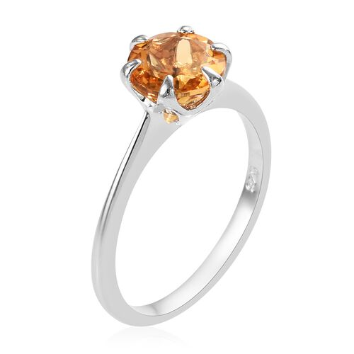 Citrine (Rnd 7 mm) Solitaire Ring in Platinum Overlay Sterling Silver 1.00 Ct.