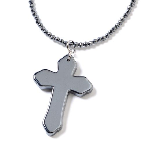 Set of 2 Hematite Necklace (Size 22) and Cross Pendant Set in Stainless Steel With Magnetic Lock 122
