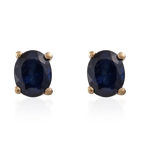 Kanchanaburi Blue Sapphire Stud Earrings (with Push Back) in 14K Gold Overlay Sterling Silver