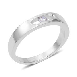 ELANZA Simulated Diamond (Rnd) Band Ring in Sterling Silver, Silver wt 4.06 Gms
