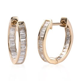 9K Yellow Gold SGL Certified Diamond (I3/G-H) In Out Hoop Earrings (with Clasp) 1.00 Ct.