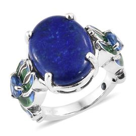 GP Lapis Lazuli (Ovl 9.25 Ct.),Himalayan Kyanite, Kanchanaburi Blue Sapphire Ring in Platinum with Enameled Overlay Sterling Silver 10.00 Ct, Silver wt. 6.26 Gms