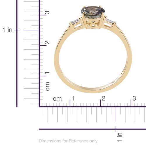 9K Yellow Gold 1.25 Ct AA Green Tanzanite Ring with Diamond