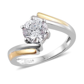 J Francis - Platinum and Yellow Gold Overlay Sterling Silver (Rnd) Crossover Ring Made with SWAROVSK