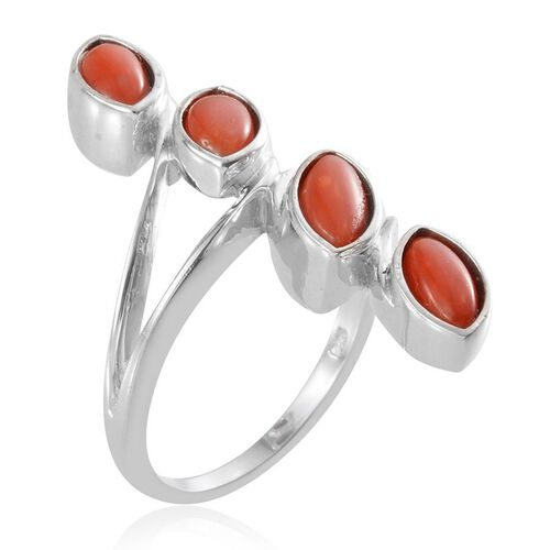 Mediterranean Coral (1.75 Ct) Platinum Overlay Sterling Silver Ring  1.750  Ct.