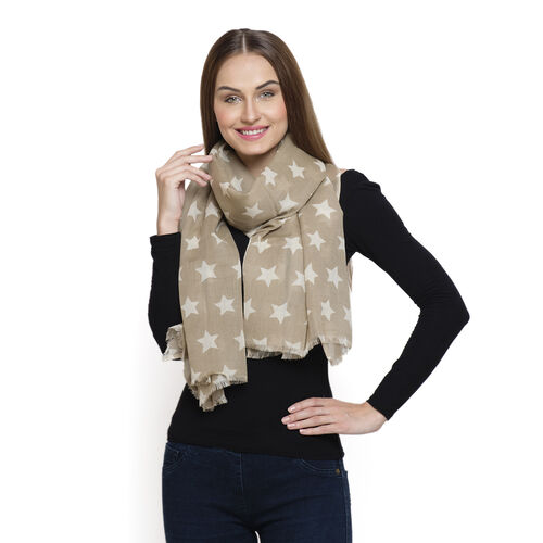 60% Merino Wool and 40% Modal Beige and White Colour Star Printed Scarf (Size 180x70 Cm)