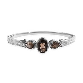 Brazilian Smoky Quartz (Ovl and Pear) Bangle (Size 7.5) in Stainless Steel 8.50 Ct.