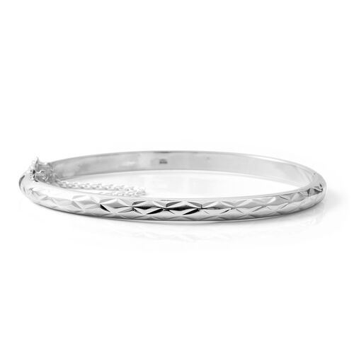 Italian Made-Rhodium Overlay Sterling Silver Bangle (Size 7.25), Silver wt 8.00 Gms.