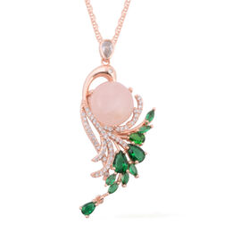 2 Piece Set - Rose Quartz (Rnd), Simulated Emerald and Diamond Pendant with Chain (Size 20 with 2 in