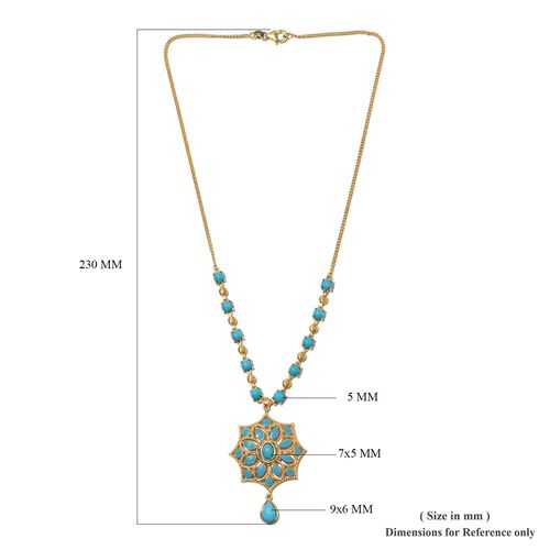 AA Arizona Sleeping Beauty Turquoise Enamelled Floral Necklace (Size 18) in 14K Gold Overlay Sterling 6.75 Ct, Silver wt 11.00 Gms