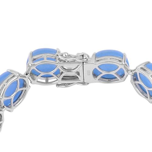Preview Auction - Burmese Blue Jade (Ovl) Bracelet (Size 7.75) and Stud Earrings (with Push Back) in Platinum Overlay Sterling Silver 105.500 Ct.