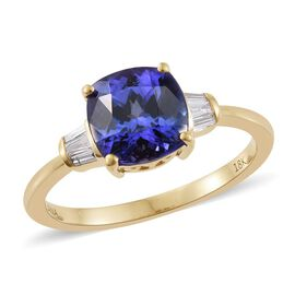 ILIANA 3 Carat AAA Tanzanite and Diamond 3 Stone Ring in 18K Gold 3.38 Grams