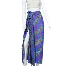Bali Collection Printed Viscose Sarong (Size 165x120 Cm) - Royal Blue, Red & Yellow