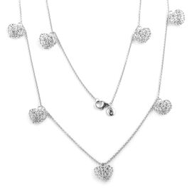 RACHEL GALLEY Rhodium Plated Sterling Silver Lattice Heart Station Necklace (Size 30), Silver wt. 19.52 Gms.