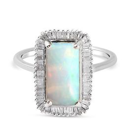 AAA Ethiopian Welo Opal and Diamond Ring in Platinum Overlay Sterling Silver 2.15 Ct.