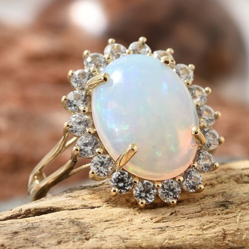 Extremely Rare Size 9K Yellow Gold AAA Ethiopian Welo Opal (Ovl 16X12 mm 5.75  Ct), Natural Cambodian White Zircon Ring 5.250 Ct ,Gold Wt 4.50 Gms