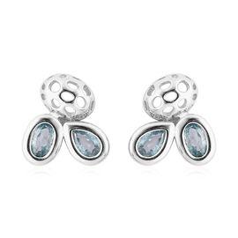 RACHEL GALLEY Misto Collection - Ratnakiri Blue Zircon Earrings (with Push Back) in Rhodium Overlay
