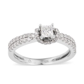0.76 Ct Diamond Classic Ring in 14K White Gold 3.30 Grams I1 GH