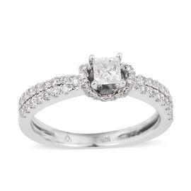 14K White Gold Diamond (Sqr) (I1/G-H) Ring 0.760 Ct.