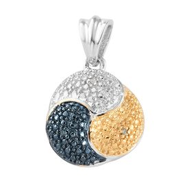 TJC Value Buy- White Diamond (Rnd), Blue and Yellow Diamond Pendant in Platinum, Blue and Yellow Overlay Sterling Silver