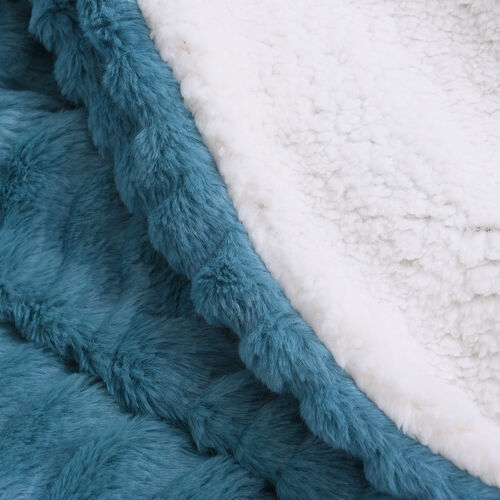 Embossed Wave Pattern Faux Fur Sherpa Blanket (150x200cm) - Teal