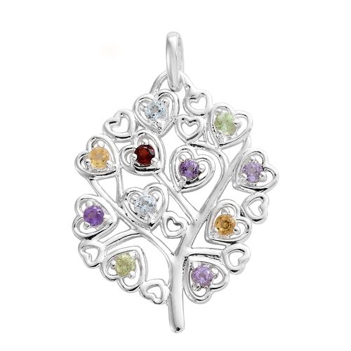 Blow Out Deal-Rose De France Amethyst (Rnd), Sky Blue Topaz, Hebei Peridot and Multi Gemstone Tree Pendant in Sterling Silver