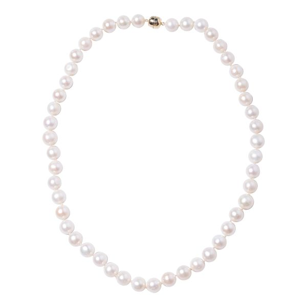Freshwater White Pearl Beaded Necklace in 9K Yellow Gold 20 Inch