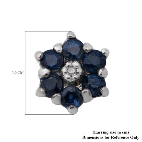 Kanchanaburi Blue Sapphire and Diamond Floral Stud Earrings in Rhodium Overlay Sterling Silver 1.00 Ct.