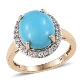 SLEEPING BEAUTY TURQUOISE (3.80 Ct),Cambodian Zircon 9K Y Gold Ring  4.000  Ct.