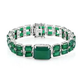 Verde Onyx (Oct 16x12 MM 10.50 Ct) Bracelet (Size 7) in Platinum Overlay Sterling Silver 48.000 Ct. Silver wt 22.40 Gms.