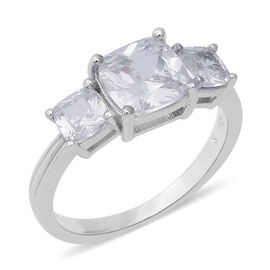 ELANZA Simulated Diamond Trilogy Ring (Size L) in Rhodium Plated Silver