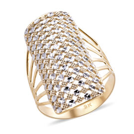 Royal Bali Lacy Design Ring in 9K Yellow and White Gold 2.50 Grams