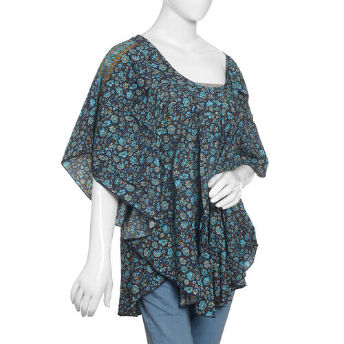 Violet,Turquoise and Multi Colour Floral Print Top (Size 80x70 Cm)