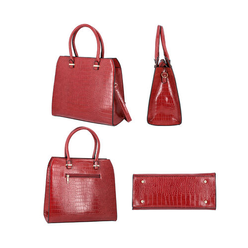Croc Embossed Satchel Bag with Zipper Closure and Detachable Shoulder Strap (Size 32x12x28 Cm) - Red