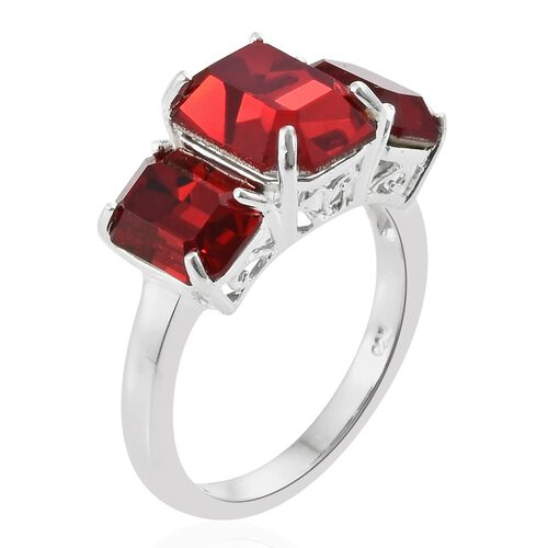J Francis Crystal from Swarovski - Light Siam Crystal (Oct) 3 Stone Ring in Sterling Silver