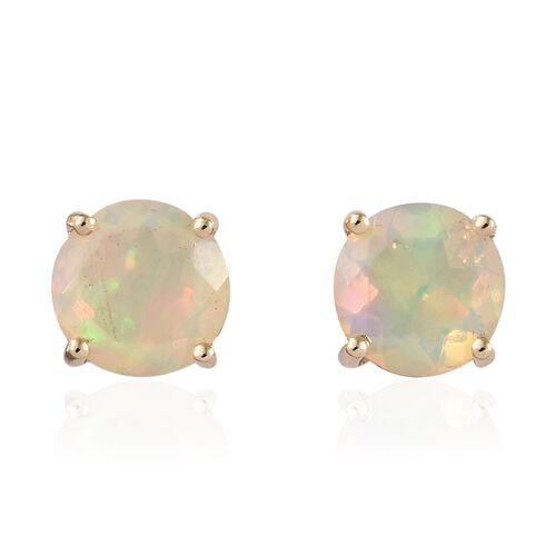 9K Yellow Gold AA Ethiopian Welo Opal (Rnd) Earrings (with Push Back) 0.850  Ct.