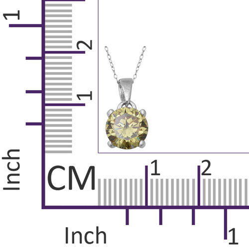 Colour Change ELANZA Swiss Star Colour Change Green and Yellow Cubic Zirconia (Rnd) Pendant With Chain (Size 18) in Rhodium Overlay Sterling Silver