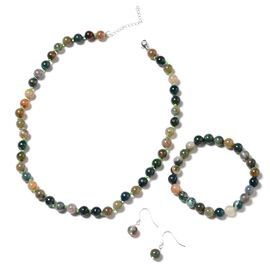 3 Piece Set - Indian Agate (Rnd) Beads Necklace (Size 18 with 2 inch Extender), Stretchable Bracelet