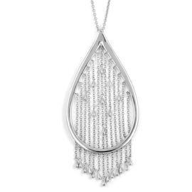 LucyQ Rain Pendant with Chain (Size 24 with 4 inch Extender) in Rhodium Plated Sterling Silver 21.86 Gms.