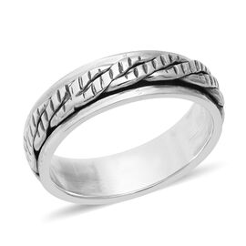 Sterling Silver Braided Spinner Band Ring (Size O) - Silver Wt. 5.35 Gms