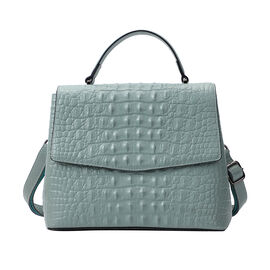 SENCILLEZ Womens Embossed Crocodile Pattern Genuine Leather Convertible Bag with Shoulder Strap - Pastel Green